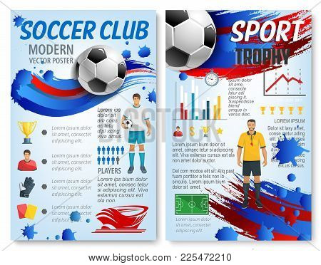 Soccer Sport Infographic With Football Team Player And Trophy Statistic Info. Chart And Graph With F