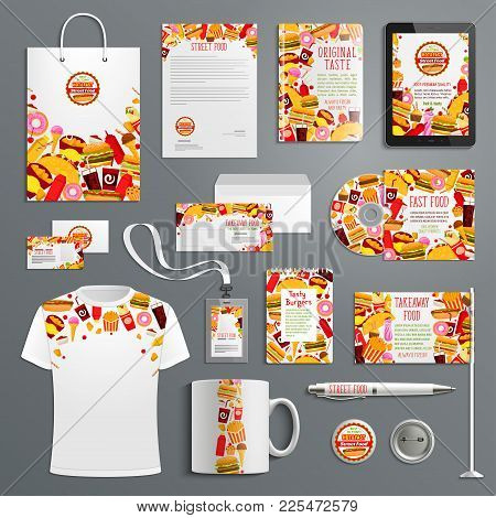 Corporate Identity Template For Fast Food Restaurant Branding. Letterhead, Business Card, Brochure C