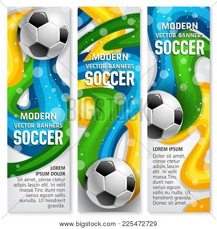 Soccer Ball Banner For Football Game Sport Club Template. Football Or Soccer Ball With Colorful Ribb