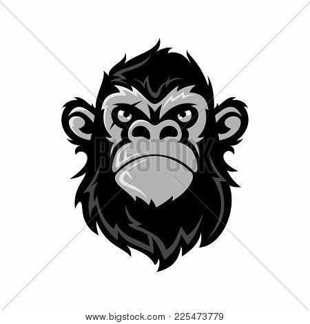 Vector Illustration Funny Gorilla Head On With Crownking Of Monkeys White