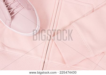 Womanly Pink Leather Shoes And Sweatshirt Or Hoodie