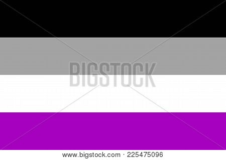 International Asexual Flag, People Movement, Flat Icon. Canvas For All Who Abandoned Sex Life, Not E