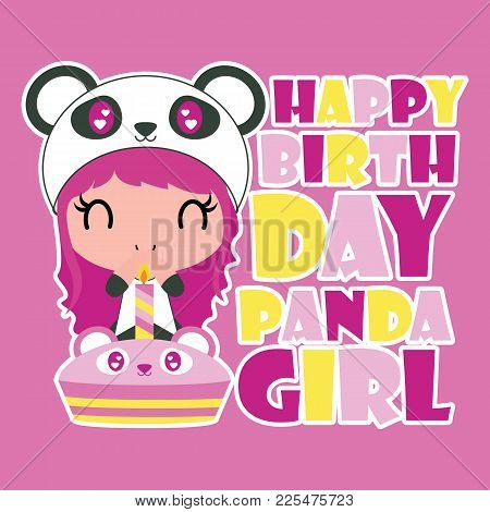 Cute Panda Girl Birthday Party Vector Cartoon Illustration For Happy Birthday Card Design, Postcard,