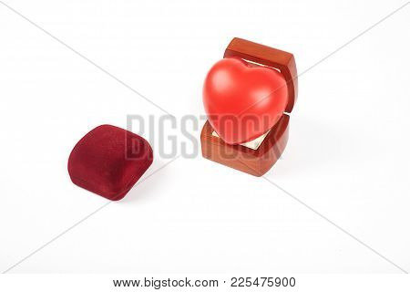 Heart In A Box For Rings, Isolated On A White Background. Gift For St. Valentine's Day