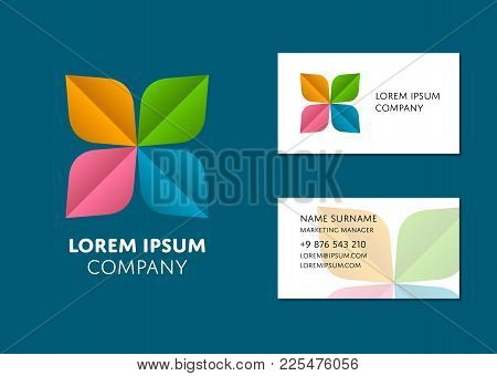 Creative Business Card Template With Trendy Colorful Logo. Name, Work Position, Phone, Website And E