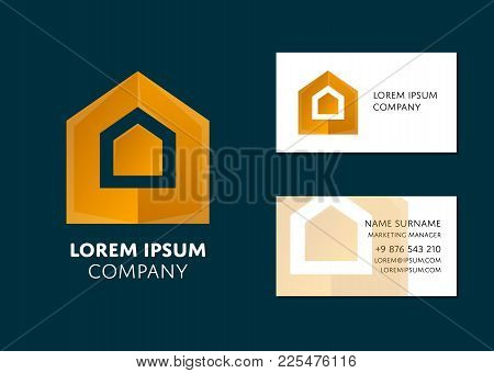Creative Business Card Template With Yellow Geometric Logo. Name, Work Position, Phone, Website And