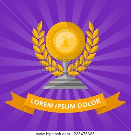 Golden Cup With Laurel Wreath On Purple Background. Championship Awards Ceremony Banners, Trophy Cup