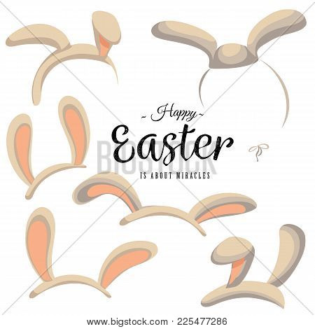 Set Of Easter Mask With Rabbit Ears Isolated On White With Greeting Text, Bunny Pink Ear Headband Ve