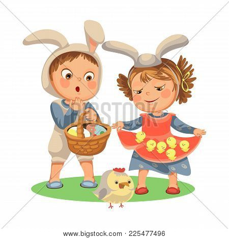Little Girl Smile Holding In Her Dress Chickens, Baby In Apron With Rabbit Ears Headband, Happy Boy
