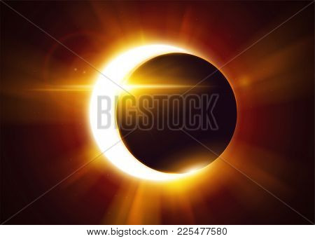 Partial Solar Eclipse. Natural Astronomical Phenomenon. Shadow Of The Moon And Aura Of Solar Corona.