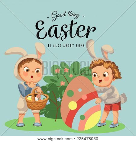 Little Girl Or Boy Hunting Big Decorative Chocolate Egg In Easter Bunny Costume With Ears And Tail,