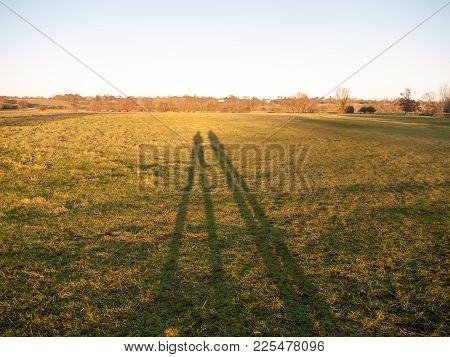 Two Large Leg Silhouettes On Grass Land Background Surface; Essex; England; Uk
