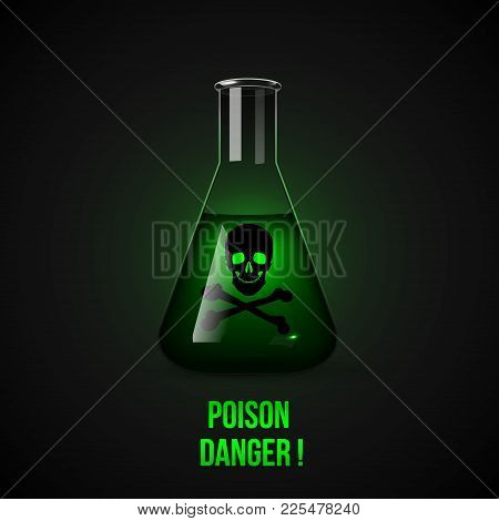 Flask With Poison. Conical Flask With Green Liquid Inside. Dark Background Vector Illustration