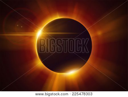 Total Solar Eclipse. Natural Astronomical Phenomenon. Shadow Of The Moon And Aura Of Solar Corona. R