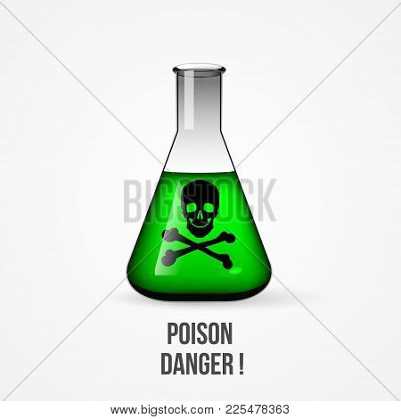 Flask With Poison. Conical Flask With Green Liquid Inside. Isolated On White Background Vector Illus