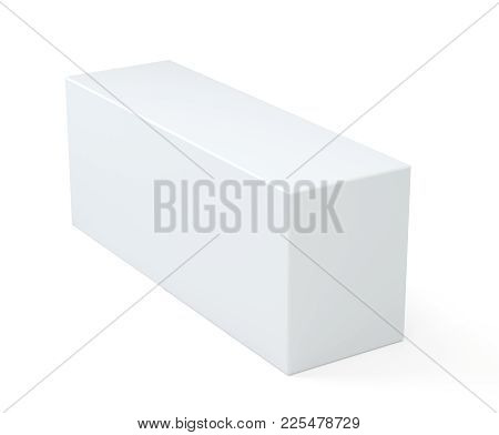 Blank White Cube Product Packaging Paper Cardboard Box. Isolated On White Background With Soft Shado