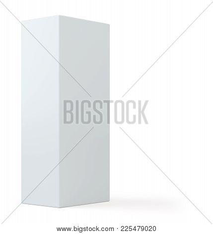 Realistic White Box, Cube, Podium Or Blank Pedestal. White Platform. Isolated On White Background. 3
