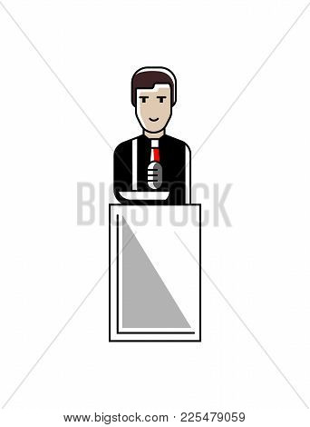 European Businessman Speech On Conference Tribune. Corporate Business People Isolated Vector Illustr