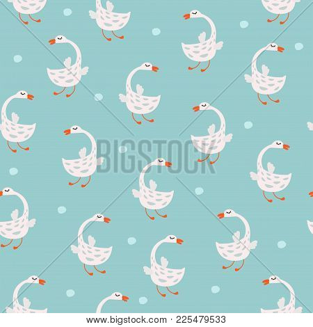 Vector Seamless Pattern With Cute Geese. Cute Background For Kids.