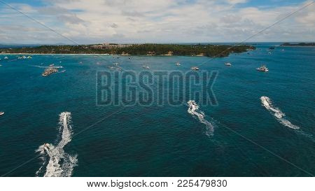 Aerial View Of Beautiful Tropical Island With White Sand Beach, Boracay, Hotels And Tourists. Tropic