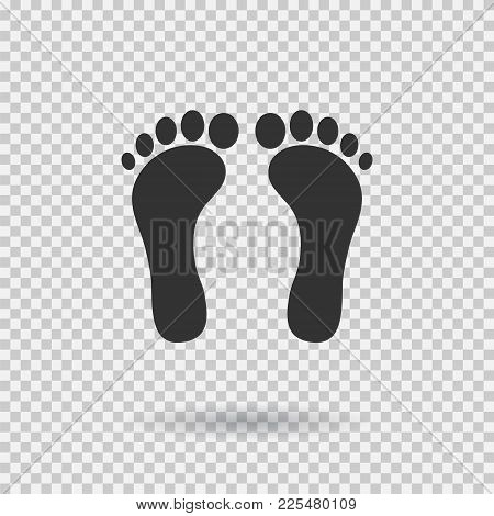 Human Footprint Icon. Vector Footsteps. Flat Style. Black Silhouettes. Illustration With Shadown On
