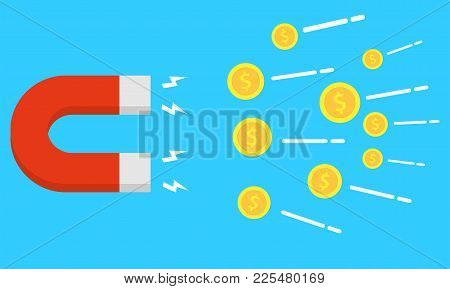 Vector Magnet. Attraction Money. Flat Style. Earn Money. Magnetic Force. Profit, Income. Vector Illu