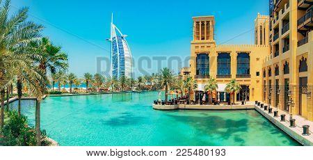 Dubai, Uae - October 06, 2016: Burj Al Arab View From Madinat Jumeirah, Dubai. Beautiful View On Hot