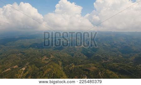 Mountains With Rainforest Covered With Green Vegetation And Trees On The Tropical Island Cebu. Aeria