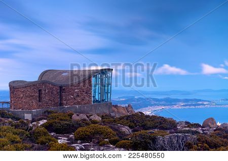 Lookout At Mount Wellington, Hobart, Tasmania, Australia, During A Blue Hour Sunset.