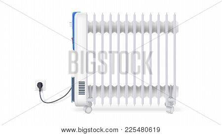 Icon Of Oil Radiator Isolated On Horizontal White Background. White, Electric Oil Filled Heater. Vec