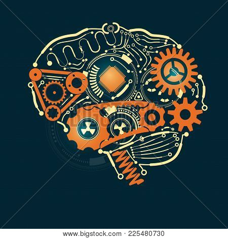 Graphic Of A Brain In Technological Look, Concept Of Industrial Advancement