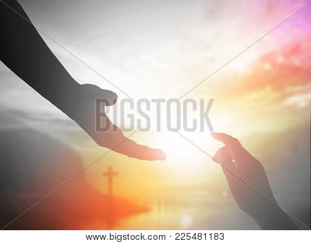 Couple Human Hand Helping And Pray For Supporting Of Empower And Kindness Concept.
