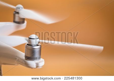 Fort Collins, CO, USA - February 5, 2018:  Rotating propellers of the DJI Phantom 4 pro quadcopter drone.