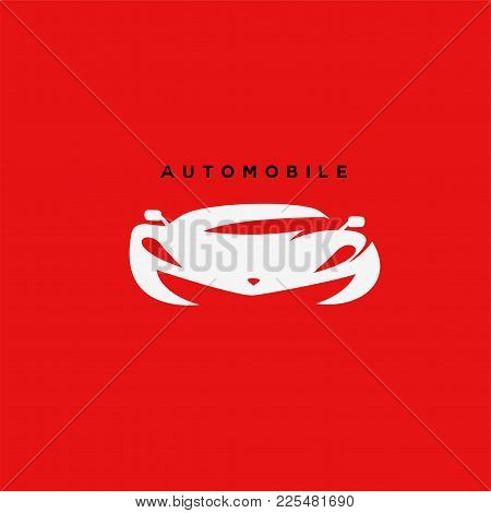 White Automobile Car On Red Background With Typography Vector Illustration Design