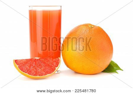 Healthy Food. Grapefruit Juice With Sliced Grapefruit Isolated On White Background