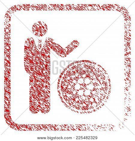 Businessman Show Cardano Coin Rubber Seal Stamp Imitation. Icon Vector Symbol With Grunge Design And