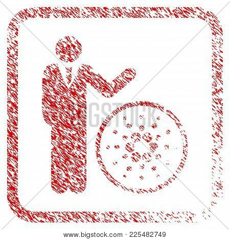 Businessman Show Cardano Rubber Seal Stamp Watermark. Icon Vector Symbol With Grunge Design And Uncl
