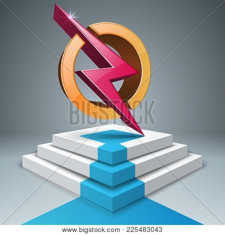 Lightning, Stair, Pedestal Ladder Icon Vector Eps 10