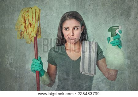 Grunge Edit Portrait Of Sad And Depressed Lazy Cleaning Woman , Housewife Or House Maid Service Clea