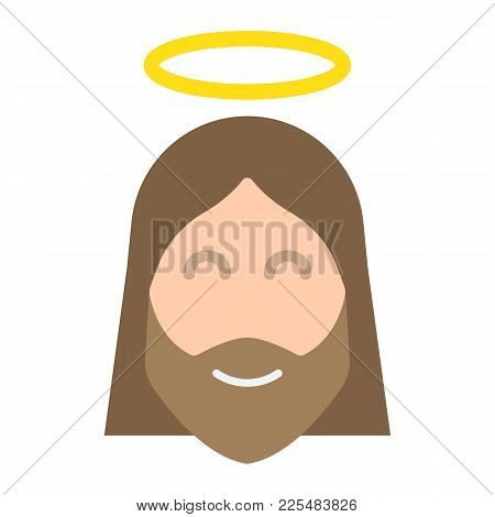 Jesus Flat Icon, Easter And Holiday, Christ Sign Vector Graphics, A Colorful Solid Pattern On A Whit
