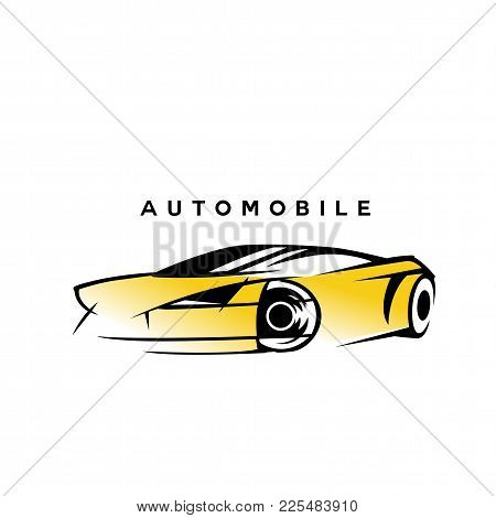 Modern Style Yellow And Black Automobile Car On White Background With Typography Vector Illustration