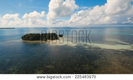 Aerial View Of Beautiful Tropical Island With Sand Beach, Azure Water. Seascape:tropical Lagoon With