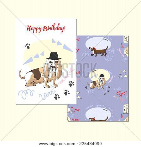 Greeting Card With Basset Hound. Hand Drawn Sketches. Dog - Symbol Of Year 2018. Vector Illustration
