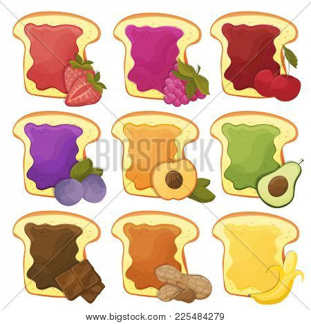 A Set Of Nine 9 Sweet Sandwiches With Chocolate, Banana, Jelly, Peanut Butter, Berries