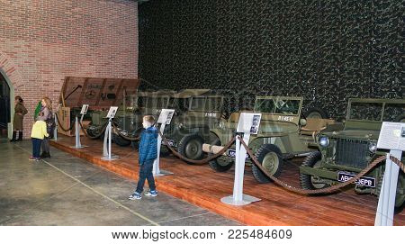 St. Petersburg, Russia - 7 May, A Number Of Army Jeeps, 7 May, 2017. Visitor In The Exhibition Pavil