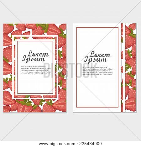 Vector Strawberry Vertical Banners On White Background. Design For Sweets And Pastries Filled With S