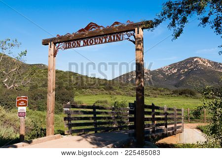Poway, California - March 16, 2017:  The Iron Mountain Trailhead For A Popular Looped Trail, 5.6 Mil