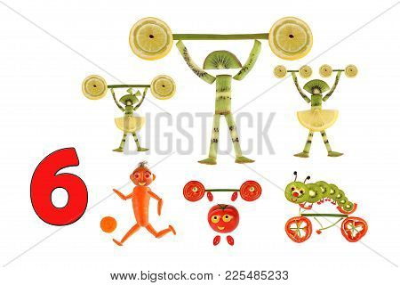 Learning To Count. Cartoon Figures Of Vegetables And Fruits, As An Illustration Of Mathematical Educ