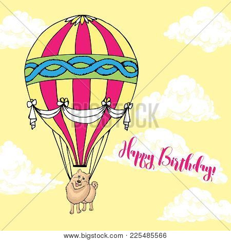 Background With Dog And Air Balloon. Hand Drawn Spitz Sketch With Clouds. Vector Illustration