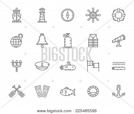 Line Navy, Marine, Sailing And Sea Icons - Vector Icon Set